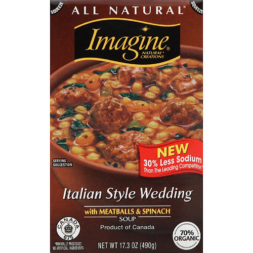 Imagine Italian Style Wedding with Meatballs & Spinach Soup, 17.3 oz (Pack of 12)