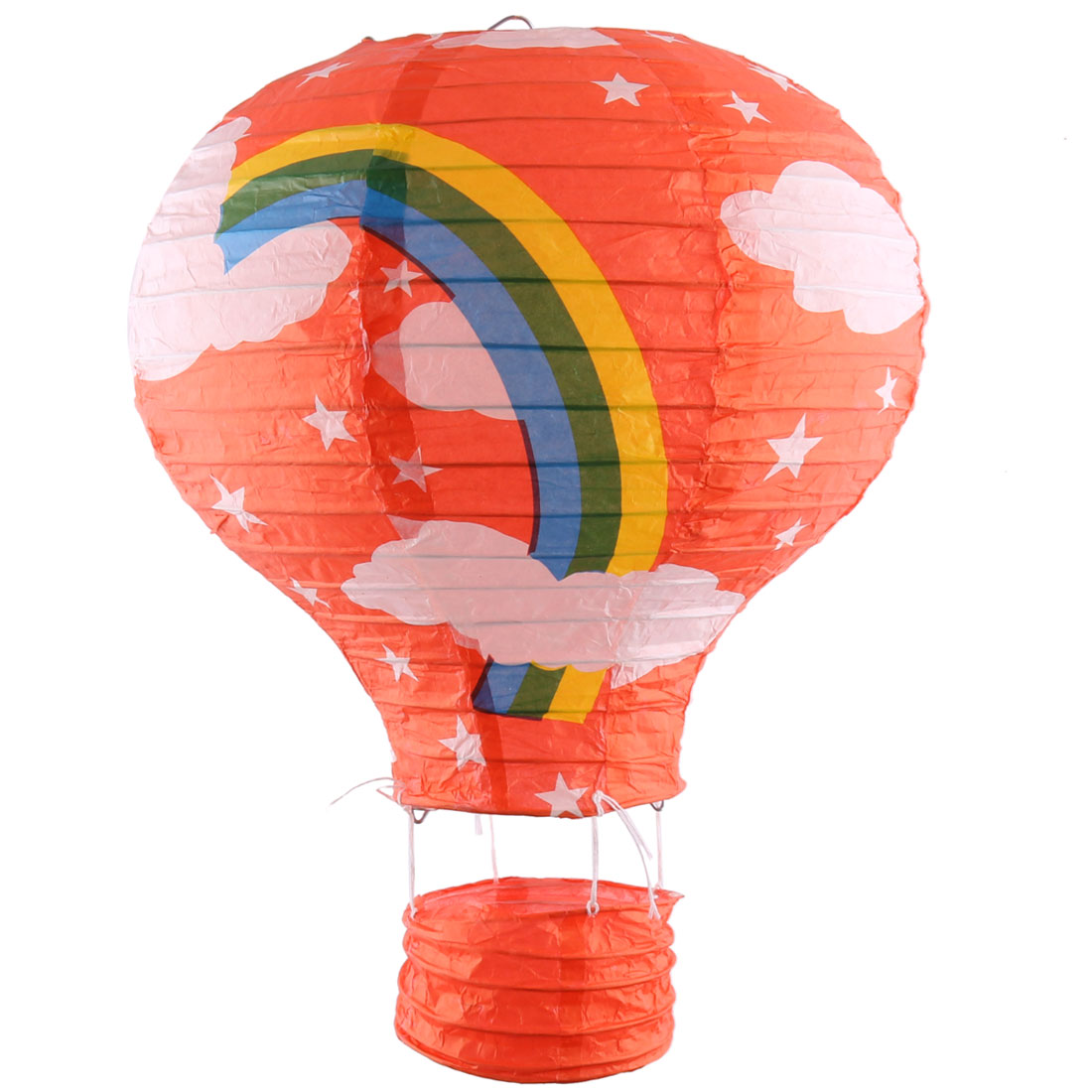 Graduation Paper Rainbow Print Decoration Hot Air Balloon Lantern Dark Orange
