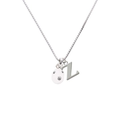 Crystal Egg Pendant - White Easter Egg with Clear Crystal Dots - Z - Initial Necklace