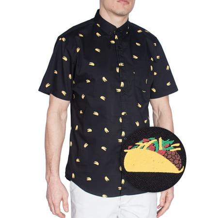 a3372fb2 Visive - Mens Taco Black Printed Hawaiian Short Sleeve Button Down Up  Casual Shirt Size S - Walmart.com