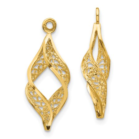 14k Yellow Gold Filigree Swirl Ear Jacket Jackets For Studs Gifts For Women For Her