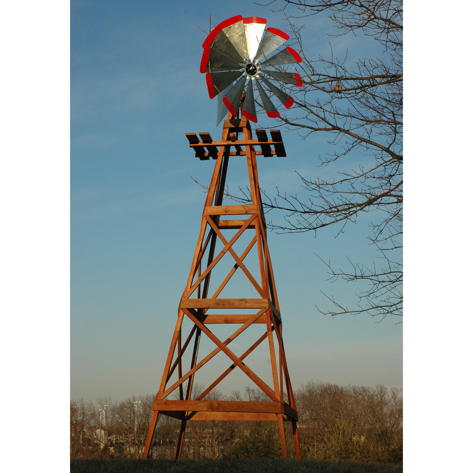 Decorative 13 ft. Wood Backyard Windmill with Red Tips by Windmills