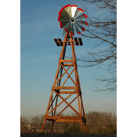 Decorative 13 Ft Wood Backyard Windmill With Red Tips