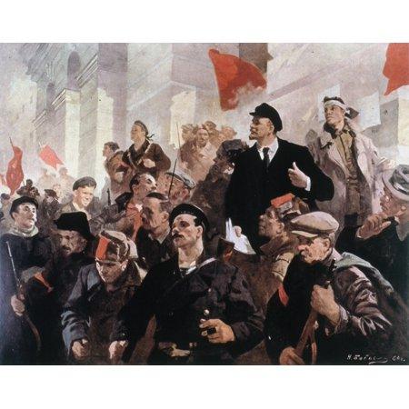 Vladimir Lenin (1870-1924) Nvladimir Ilich Ulyanov Russian Communist Leader On The First Day Of Soviet Power 1917 Painting By Nikolai Lukich Babasyuk 1960 Rolled Canvas Art -  (24 x 36)