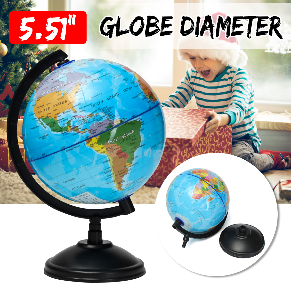 14cm World Globe Map With Stand Geography Educational Toy Student Desktop Decor Home Office Kid Christmas Birthday Presents