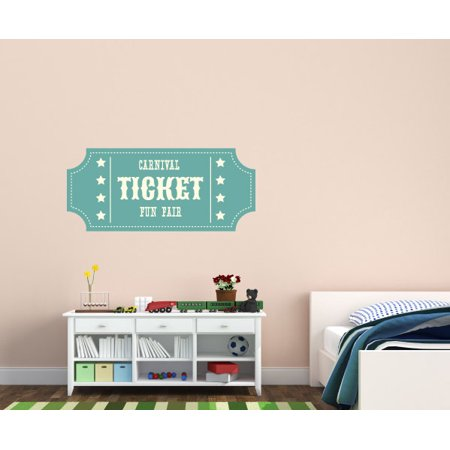 Carnival Ticket Fun Fair Wall Decal - Vinyl Decal - Car Decal - Idcolor007 - 25 Inches - Carnival Ticket