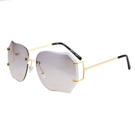 - Sunglasses Women Diamond Cut Rimless Fashion Eye Wear Shades Clear Shades