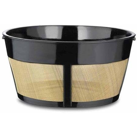 8-12 Cup Surgical Steel, Permanent Basket-Style Coffee Filter, Black