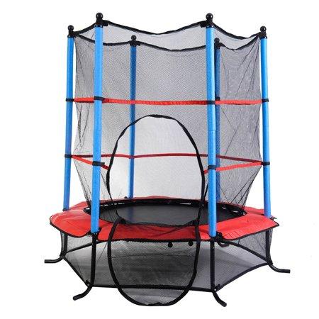 clevr round 64 h 55 w kids mini trampoline enclosure net rebounder outdoor. Black Bedroom Furniture Sets. Home Design Ideas