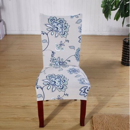 Chair Covers Soft Spandex Fit Stretch Short Dining Room Chair Covers with Printed Pattern, Banquet Chair Seat Protector Slipcover for Hone Party Hotel Wedding -