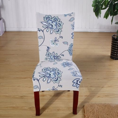 Chair Covers Soft Spandex Fit Stretch Short Dining Room Chair Covers with Printed Pattern, Banquet Chair Seat Protector Slipcover for Hone Party Hotel Wedding Ceremony