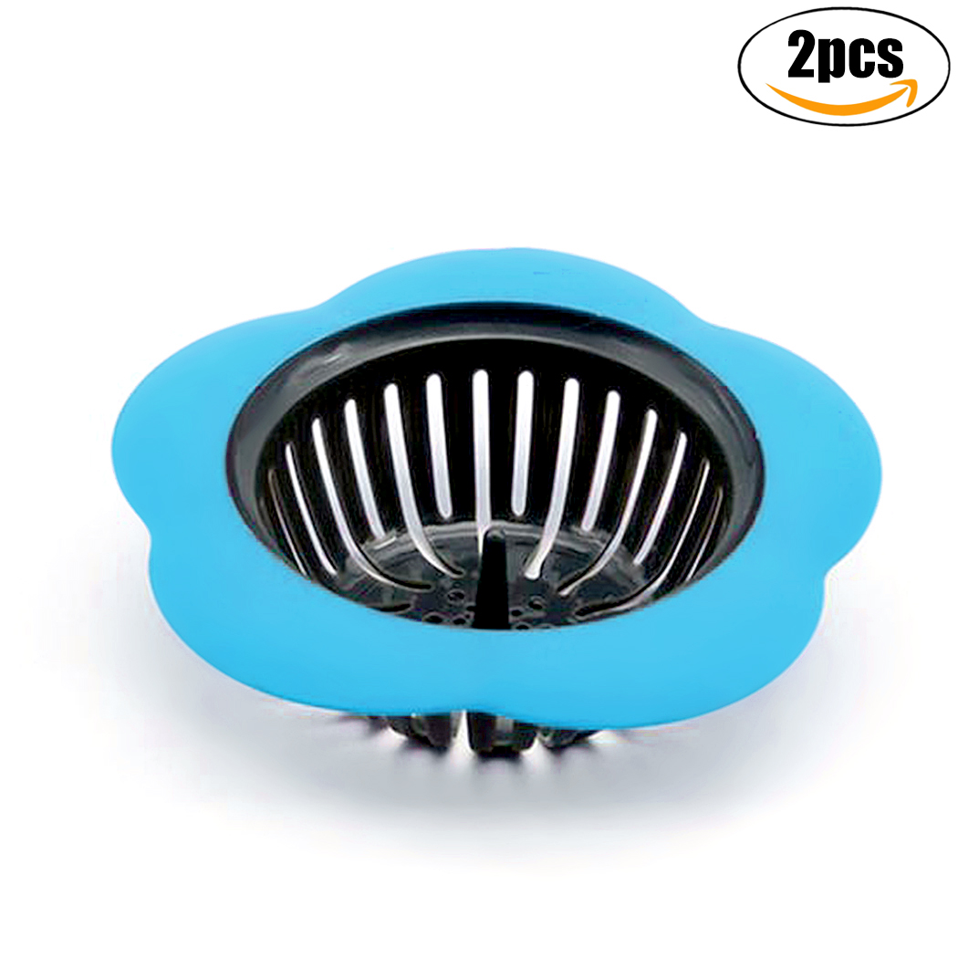 Outgeek 2Pcs Sink Strainers Flower Shape Anti-Clogged Plastic Strainer Baskets Drain Strainers for Kitchen Bathroom Sink