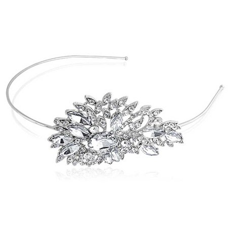 Bridal Leaves Side Headband For Wedding Rhinestone Headpiece Hair Accessories For Bride Party Prom Pageant Birthday - Leaves Headband