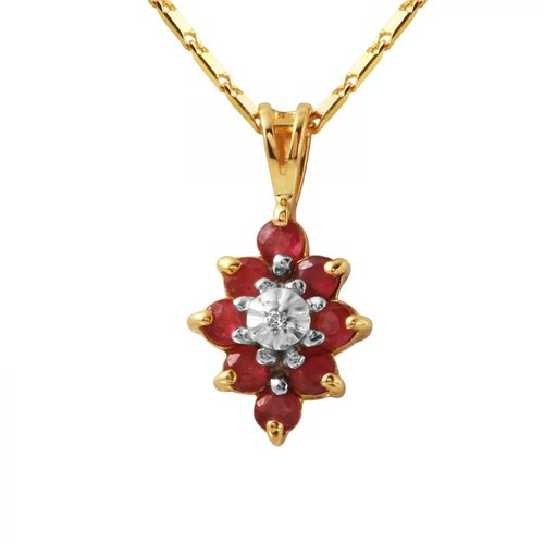Foreli 0.57CTW Ruby And Diamond 14K Yellow Gold Necklace by Generic
