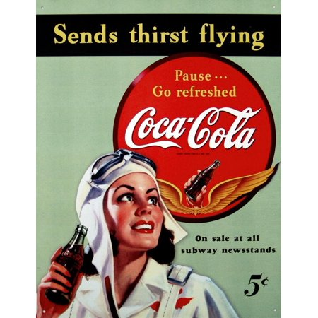 Coca-Cola Sends Thirst Flying Tin (Coca Cola Tin Sign)