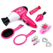 Stylish Susy Pretend Play Toy Fashion Beauty Play Set w/ Working Hair Dryer, Assorted Hair & Beauty Accessories