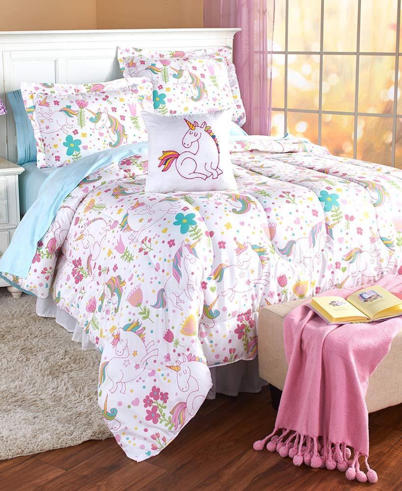 Fairy Tale Rainbow Unicorns Girls Full Queen Comforter, Shams & Toss Pillow (4 Piece Bedding Set) by Fairy Tale
