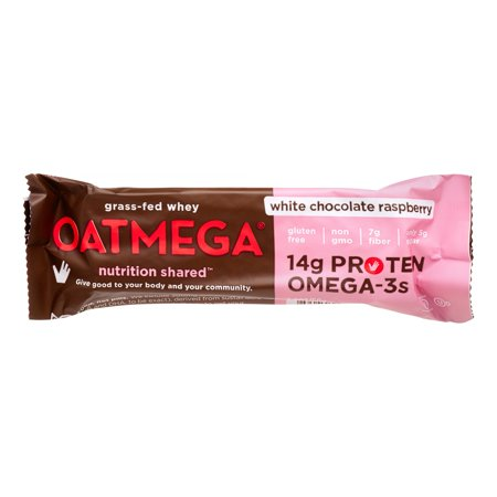 Oatmega Grass-Fed Whey Protein Bar, White Chocolate Raspberry, 14g Protein, 12 (Best Grass Fed Proteins)