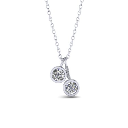 Two Stone 1.10 Carat Round Cut Real Moissanite and Diamond Drop Pendant Necklace in 18k White Gold Over Silver