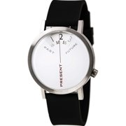 Mens Past, Present & Future Analog Stainless Watch - Black Rubber Strap - White Dial - 7214S-40
