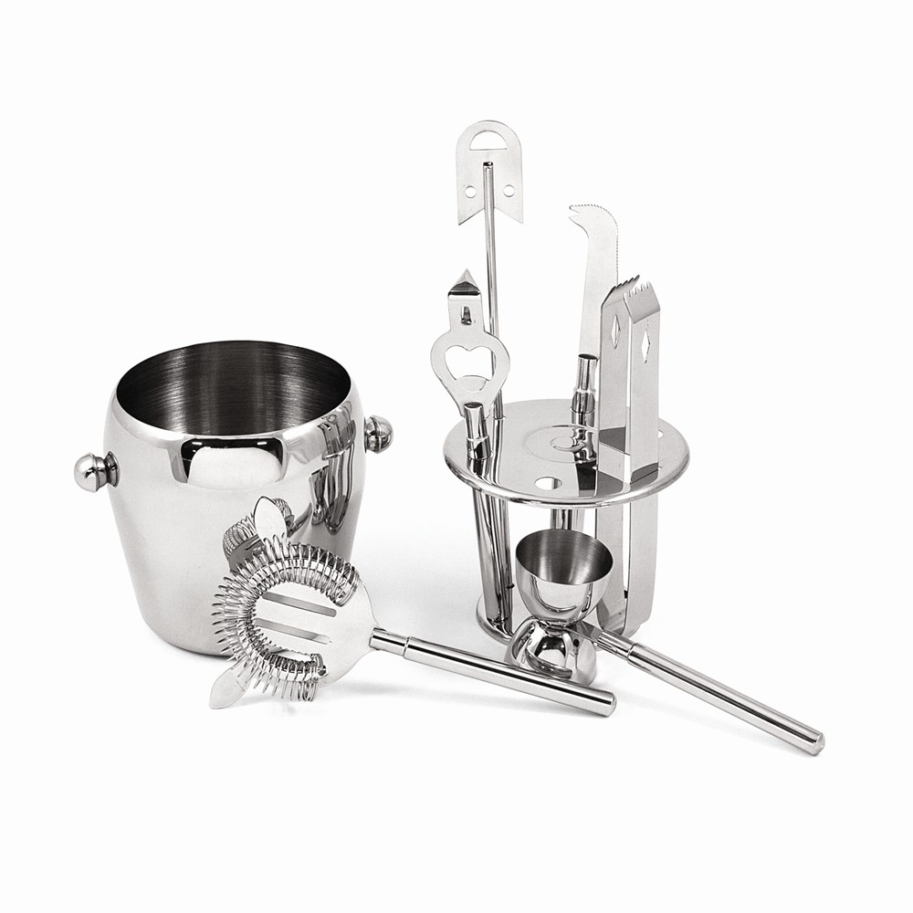 """7 Piece Stainless Bar Accessory Set With Ice Bucket, 5"""" Tall by Bey Berk"""