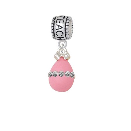 Pink Easter Egg with Clear Crystal Band - Love 2 Teach Charm Bead