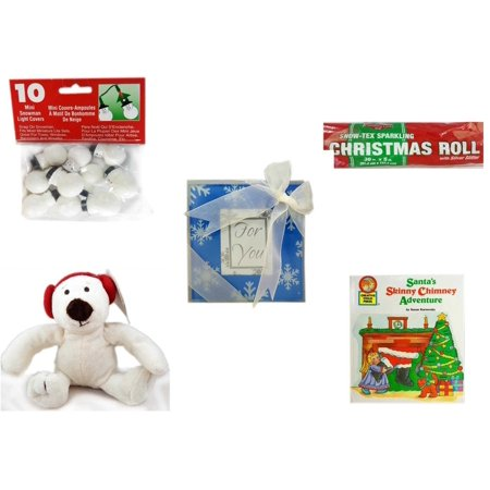 Chi Bears - Christmas Fun Gift Bundle [5 Piece] - 10 Mini Snowman Light Covers - Snow-Tex Sparkling  Roll 36