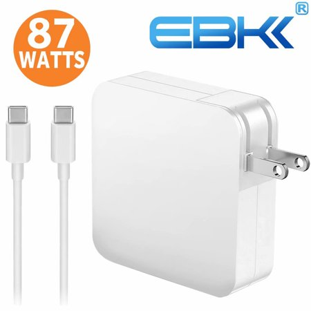 EBK 87W USB-C Power Adapter Charger For Macpro 15 inch 13 inch 2016 2017, with USB-C to USB-C Charge Cable