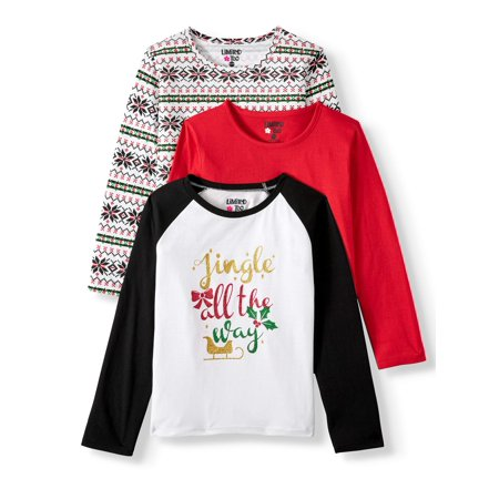 Limited Too Christmas Graphic, Printed, and Solid Long Sleeve T-Shirts, 3-Pack (Big Girls) ()
