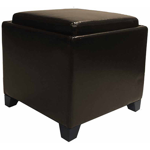 Contemporary Storage Ottoman with Tray, Multiple Colors by Generic