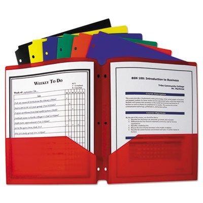 Two Pocket Heavyweight Poly Portfolio Folder  3 Hole Punch  Letter  Assorted  Sold As 1 Each