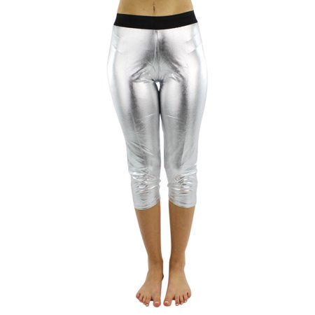 Metallic Foil Capri Style Stretchy - Silver Metallic Tights