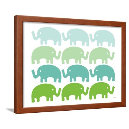 Avalisa Green - Green Elephant Family Framed Print Wall Art By Avalisa