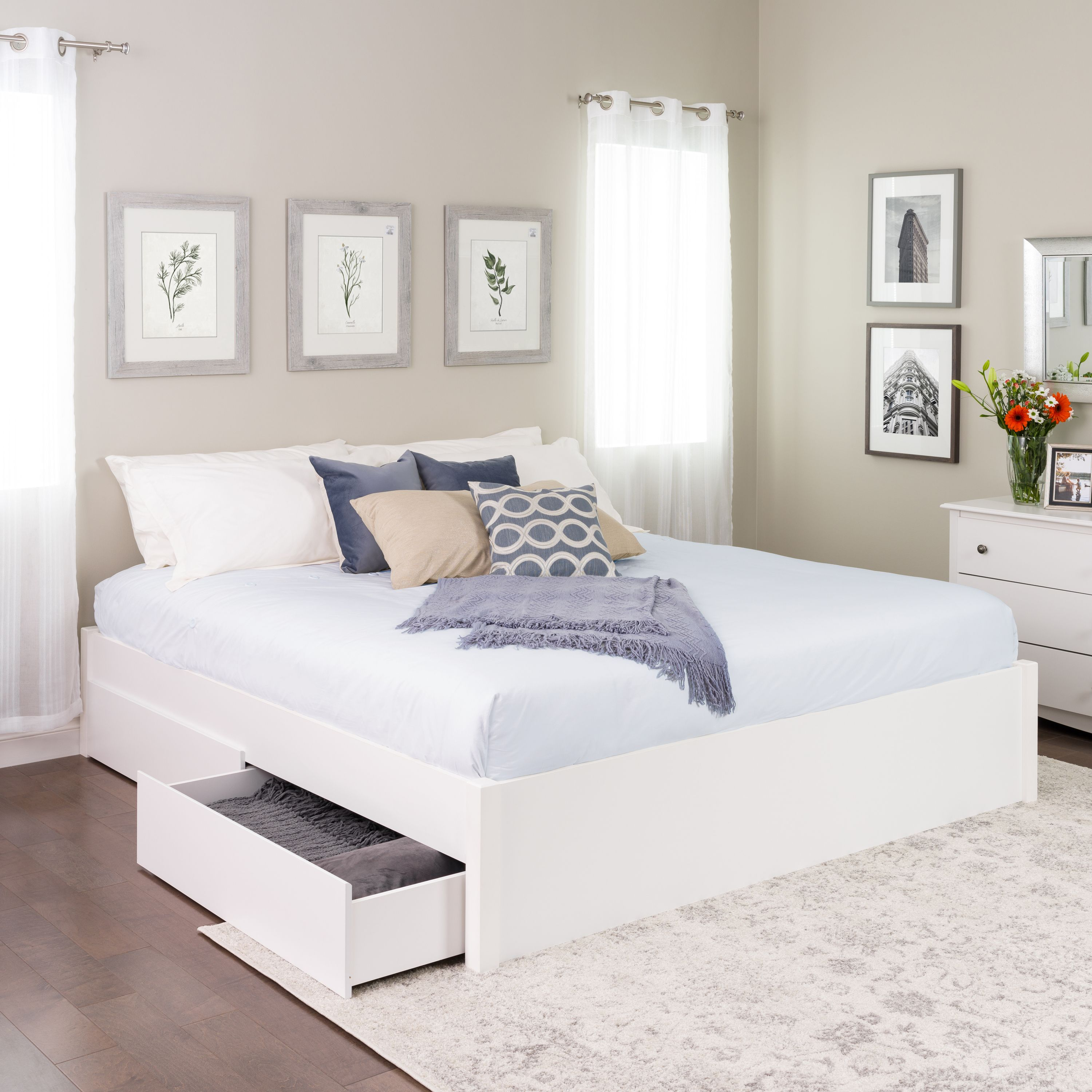 Prepac King Select 4-Post Platform Bed with 4 Drawers, White