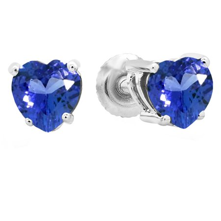 fab6a8a9f4ea6 Dazzlingrock Collection 1.00 Carat (ctw) 14K 5 MM Heart Shape Natural  Tanzanite Ladies Stud Earrings 1 CT, White Gold