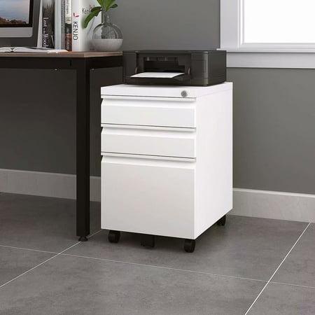 TREXM 3 Drawer File Cabinet Mobile Metal Lockable File Cabinet Under Desk Fully Assembled Except for 5 Castors, White ()