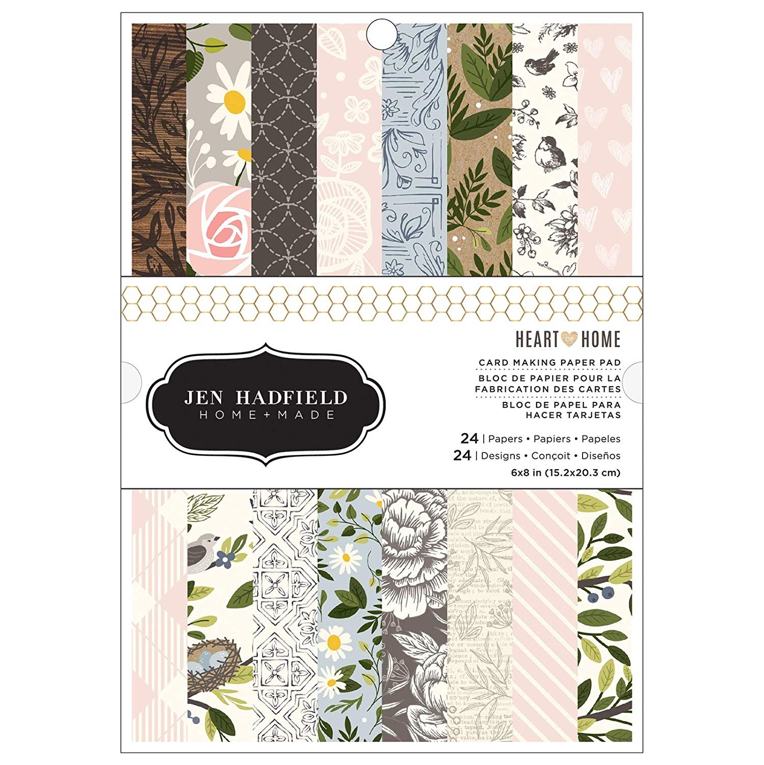 """American Crafts Single-Sided Paper Pad 6""""X8"""" 24/Pkg-Heart Of Home, 24 Designs/1 Each"""