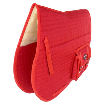 - Horse Quilted ENGLISH SADDLE PAD Trail Australian Dressage Pockets Fur RED 72115