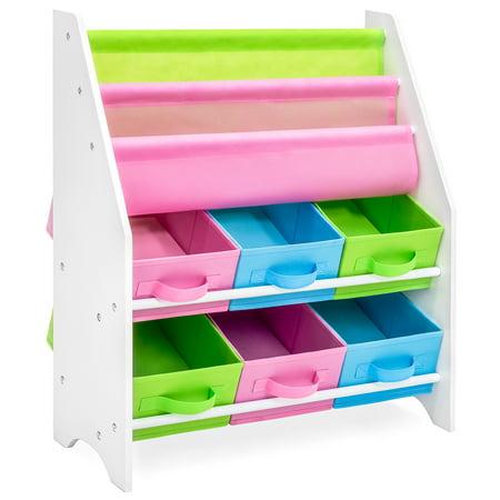 - Best Choice Products Kids Furniture Toy and Bookcase Storage Shelf Organizer w/ 3 Book Shelves, 6 Fabric Storage Bins - Multi