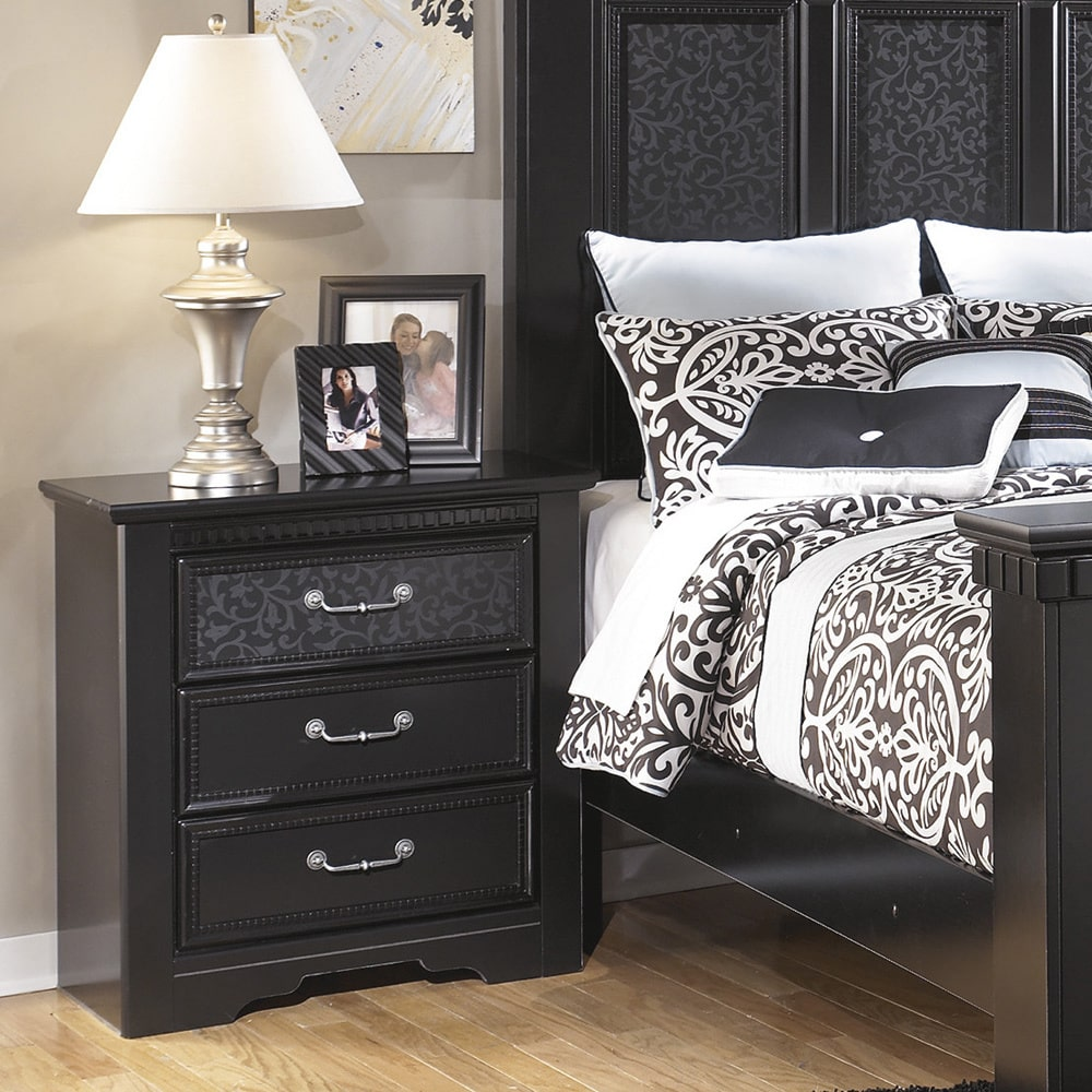 Ashley Cavallino 3 Drawer Wood Nightstand in Black   Walmart.com