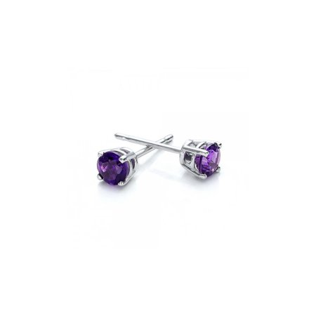 (14k White Gold 1/2 Carat Round Natural Amethyst Gemstone Stud Earrings)