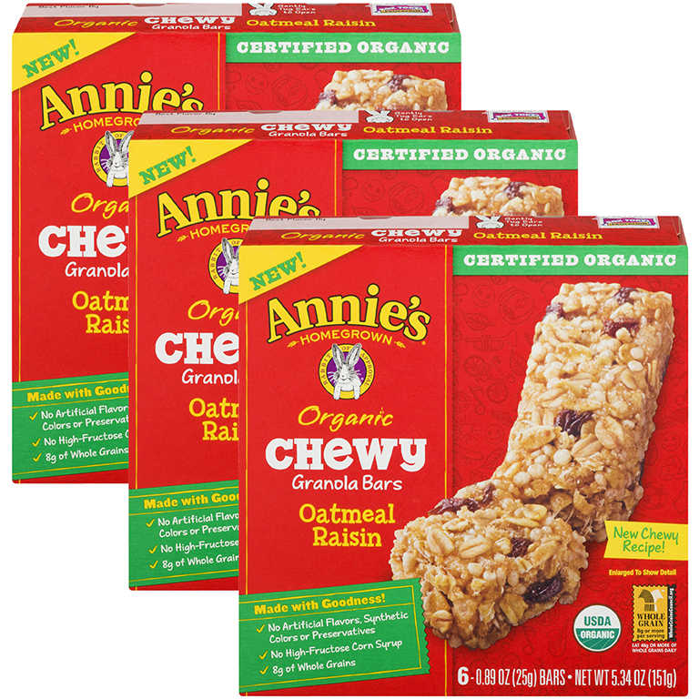 (3 Pack) Annie's Organic Chewy Oatmeal Raisin Granola Bars 6 Ct, 5.34 oz