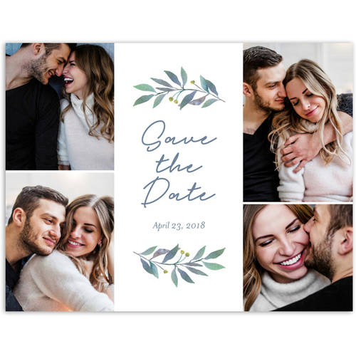 Greenery Wedding Save the Date Postcard
