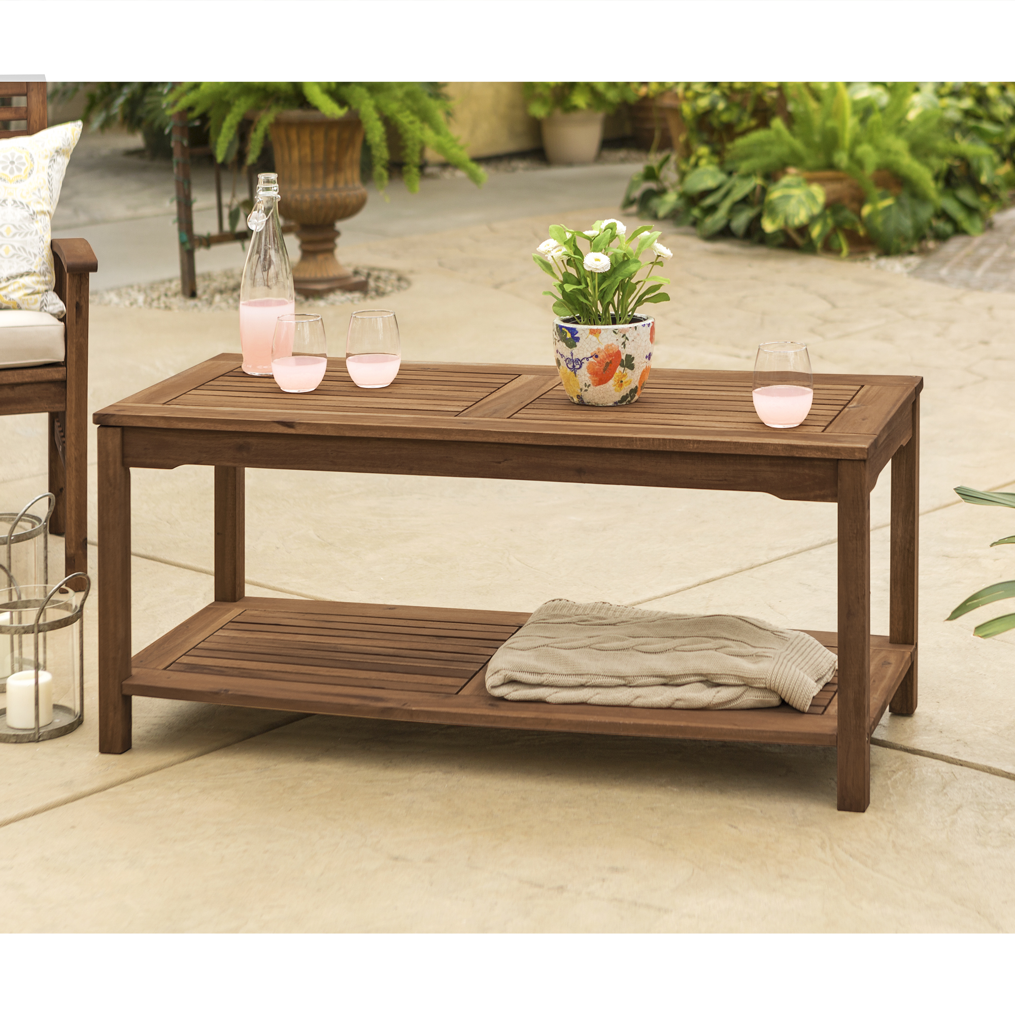 Manor Park Wood Patio Coffee Table, Brown by Manor Park