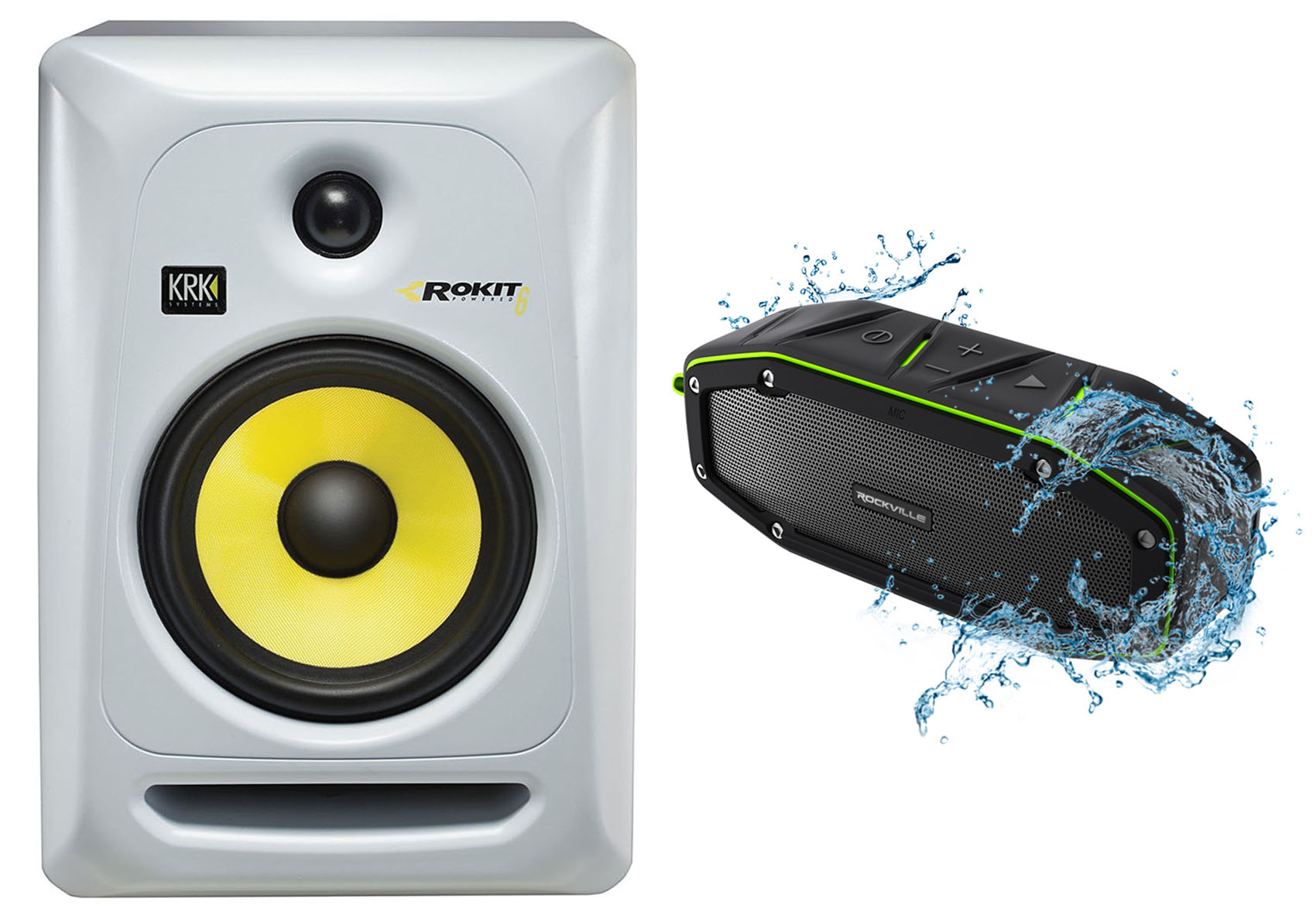 "KRK RP6G3W Rokit White 6"" Powered Studio Monitor + Free Bluetooth Speaker ! by KRK"