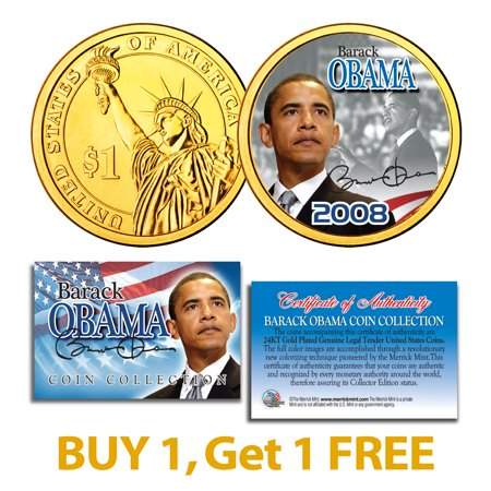 BARACK OBAMA Inauguration Presidential $1 Dollar US Coin 24K Gold Plated -