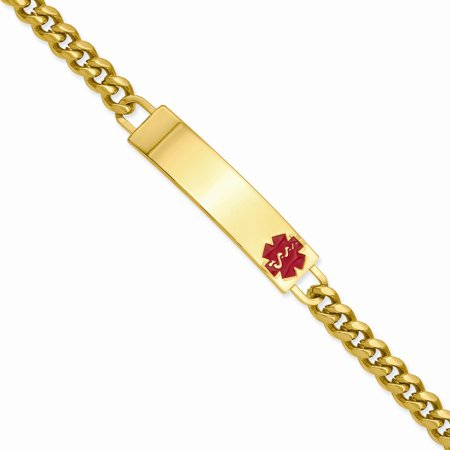 8.25in Gold-plated Engravable Large Red Epoxy Medical ID Bracelet