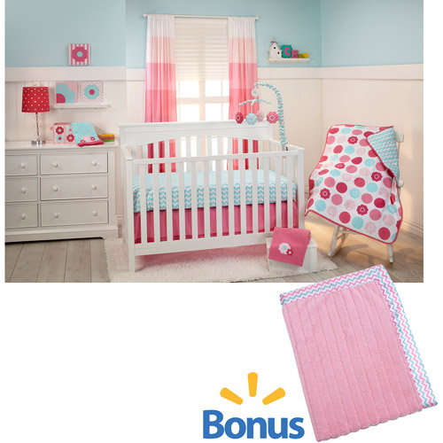 Little Bedding by NoJo Tickled Pink 3-Piece Crib Bedding Set with Value Blanket
