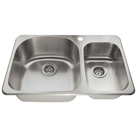 MR Direct T3121L Top Mount Stainless Steel 31-1/2 in. 1-Hole Double Bowl Kitchen
