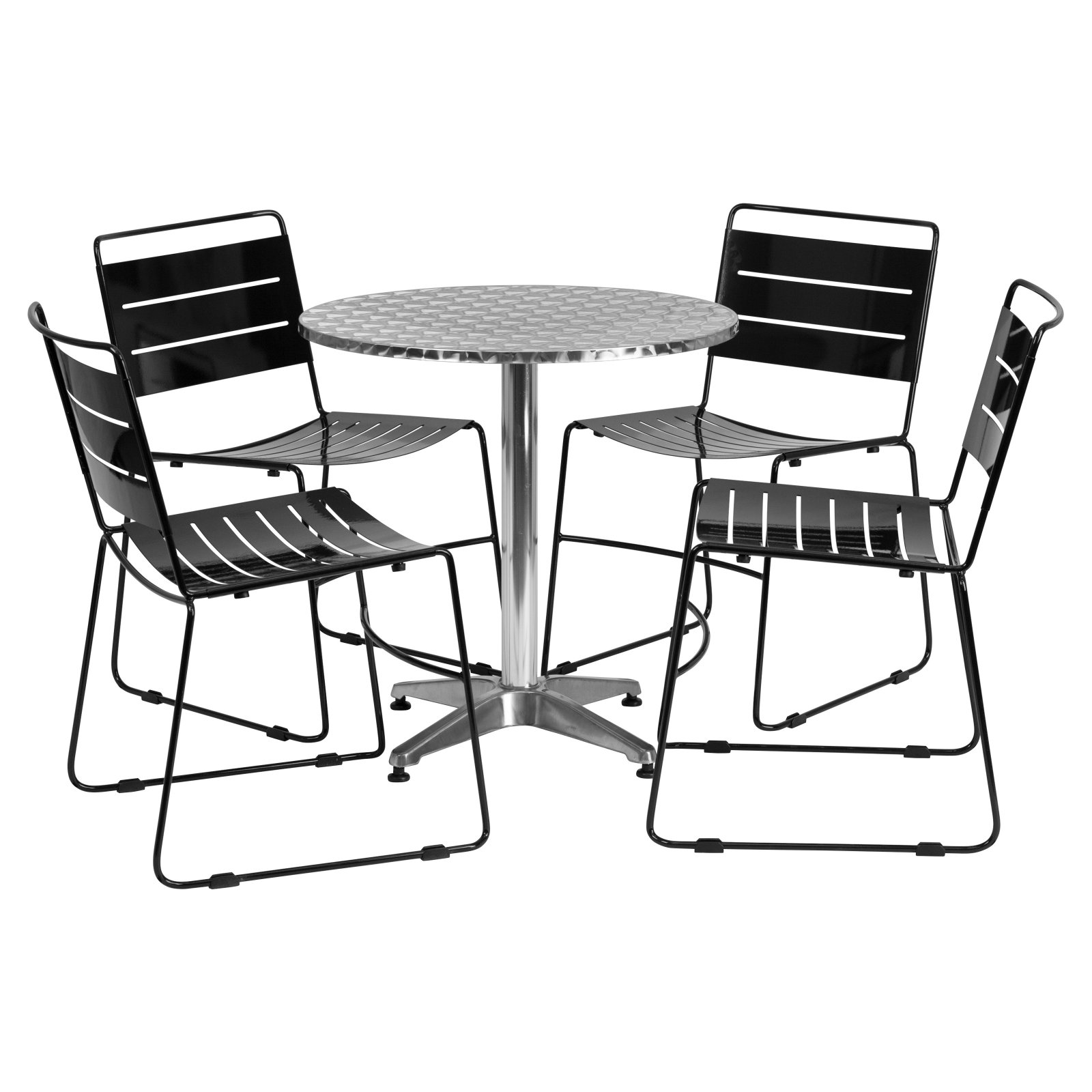 Flash Furniture 27.5'' Round Aluminum Indoor-Outdoor Table with 4 Metal Stack Chairs, Multiple Colors